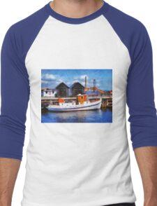 Fishing boats in a port Men's Baseball ¾ T-Shirt