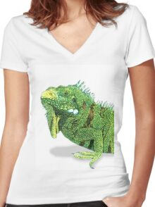 Iguana Profile Women's Fitted V-Neck T-Shirt