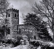 St Botolph's Church, Rugby Black and White by Avril Harris