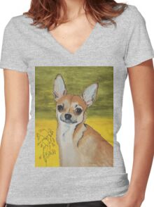 Chihuahua vector Women's Fitted V-Neck T-Shirt