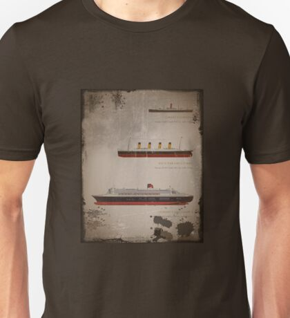 RMS Titanic Carpathia and Queen Mary Unisex T-Shirt