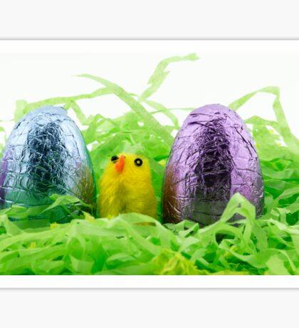 Coloured Foil Chocolate Eggs and Chicken Sticker