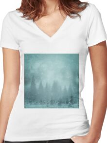 Snowy Winter Tree's - Ski Snowboard Christmas  Women's Fitted V-Neck T-Shirt