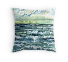 Waves fine art seascape poster print Throw Pillow