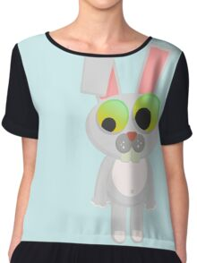 Cute Funny Cartoon Silly Confused Sweet Rabbit  Character Doodle Animal Drawing  Chiffon Top