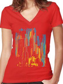 strippy city Women's Fitted V-Neck T-Shirt