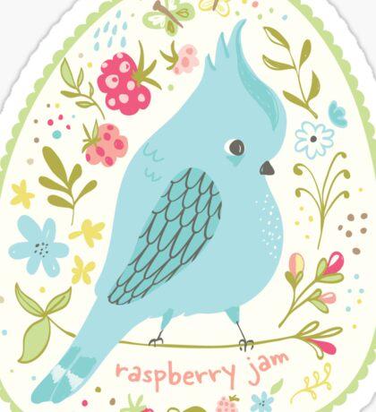 Blue Bird Jam Jar Label Sticker