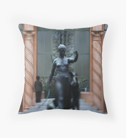 statue walking with dogs Throw Pillow