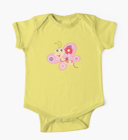 Cute Funny Cartoon Flying Pink Girly Butterfly Character Doodle Animal Drawing One Piece - Short Sleeve