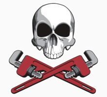 Skull with Crossed Pipe Wrenches by dxf1969