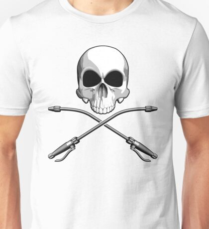 Skull with Crossed Sprayer Wands Unisex T-Shirt