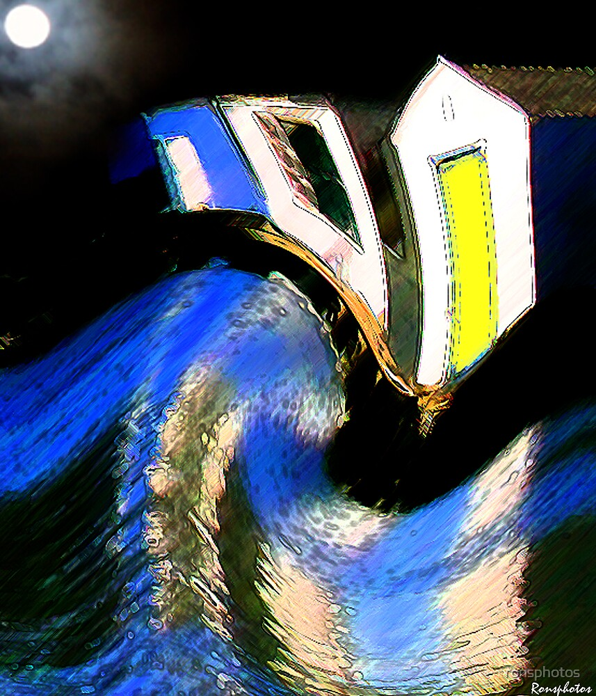Giant wave destroying boathouses by ronsphotos