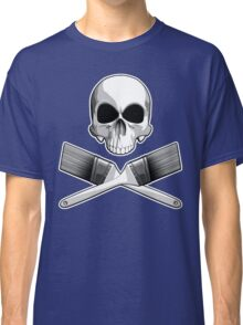 Skull with Crossed Paint Brushes Classic T-Shirt