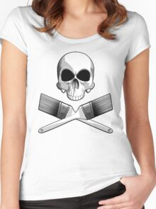 Skull with Crossed Paint Brushes Women's Fitted Scoop T-Shirt
