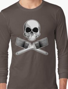 Skull with Crossed Paint Brushes Long Sleeve T-Shirt
