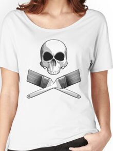Skull with Crossed Paint Brushes Women's Relaxed Fit T-Shirt