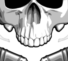 Skull with Crossed Paint Brushes Sticker