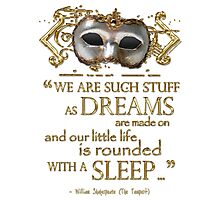 Shakespeare The Tempest Dreams Quote Photographic Print