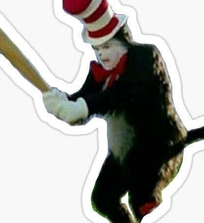 Cat in the hat meme Sticker