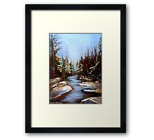 BEST SELLING CANADIAN PRINTS AND PAINTINGS WINTER LANDSCAPE TREES AND WATER BY CANADIAN ARTIST CAROLE SPANDAU Framed Print