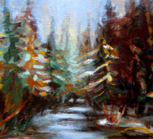 BEST SELLING CANADIAN PRINTS AND PAINTINGS WINTER LANDSCAPE TREES AND WATER BY CANADIAN ARTIST CAROLE SPANDAU Sticker