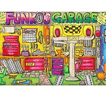 Funko's Garage Photographic Print