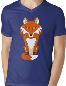 STARING FOX Mens V-Neck T-Shirt
