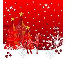 Christmas snow world with trees, snowflakes and a cute decorative horse Photographic Print