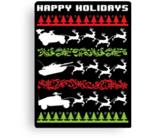 Funny Military Vehicles Being Pulled By Holiday Reindeer T-Shirt and Accessories Canvas Print