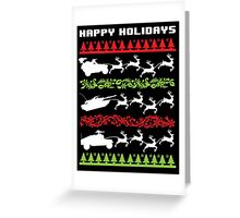 Funny Military Vehicles Being Pulled By Holiday Reindeer T-Shirt and Accessories Greeting Card