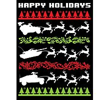 Funny Military Vehicles Being Pulled By Holiday Reindeer T-Shirt and Accessories Photographic Print