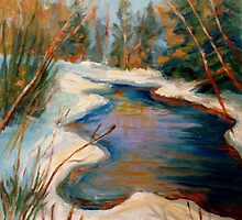BEAUTIFUL WINTER BROOK BEST SELLING CANADIAN PAINTINGS AND PRINTS BY CANADIAN ARTIST CAROLE SPANDAU by Carole  Spandau