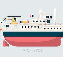 Minimalist Jacques Cousteau's Research Vessel Calypso by AquanautStudio