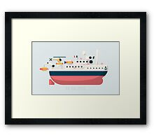 Minimalist Jacques Cousteau's Research Vessel Calypso Framed Print