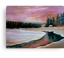 CABIN RETREAT CANADIAN ART CANADIAN PAINTINGS BEST SELLING WINTER SCENE BY CANANDAIN ARTIST CAROLE SPANDAU Canvas Print
