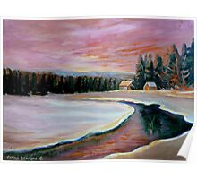 CABIN RETREAT CANADIAN ART CANADIAN PAINTINGS BEST SELLING WINTER SCENE BY CANANDAIN ARTIST CAROLE SPANDAU Poster