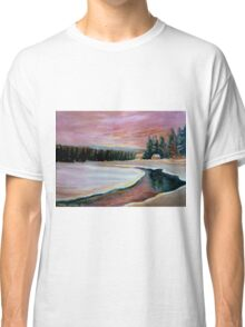 CABIN RETREAT CANADIAN ART CANADIAN PAINTINGS BEST SELLING WINTER SCENE BY CANANDAIN ARTIST CAROLE SPANDAU Classic T-Shirt
