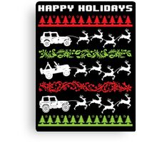Cool 4 X 4 Happy Holidays Trucks Being Pulled by Reindeer Holiday T-Shirt Canvas Print