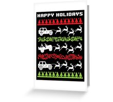 Cool 4 X 4 Happy Holidays Trucks Being Pulled by Reindeer Holiday T-Shirt Greeting Card