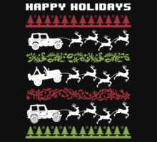 Cool 4 X 4 Happy Holidays Trucks Being Pulled by Reindeer Holiday T-Shirt by Albany Retro