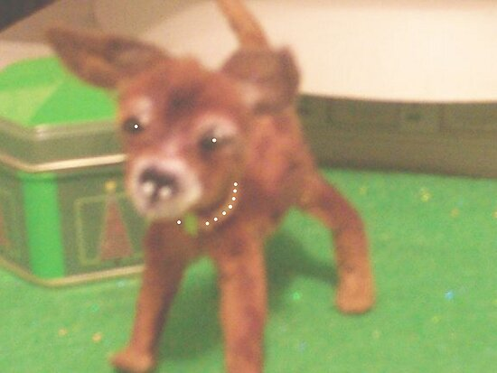 "chihauhau 3"" pup miniature faux fur little ""JOEY"" made for ebay by francelle  huffman"