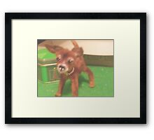 "chihauhau 3"" pup miniature faux fur little ""JOEY"" made for ebay Framed Print"