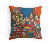 Family Christmas Meal Throw Pillow