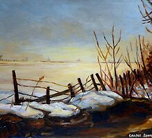 CANADIAN LANDSCAPE ART AND CANADIAN LANDSCAPE PAINTING FROZEN LAKE IN QUEBEC BY CAROLE SPANDAU by Carole  Spandau