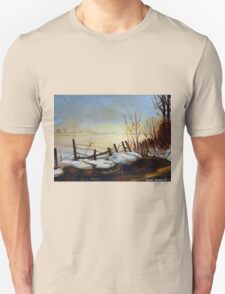 CANADIAN LANDSCAPE ART AND CANADIAN LANDSCAPE PAINTING FROZEN LAKE IN QUEBEC BY CAROLE SPANDAU Unisex T-Shirt