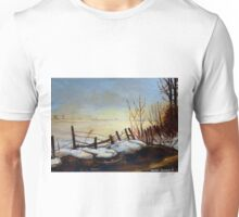 CANADIAN LANDSCAPE ART AND CANADIAN LANDSCAPE PAINTING FROZEN LAKE IN QUEBEC BY CAROLE SPANDAU Unisex T-Shirt