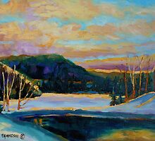 BEST CANADIAN PRINTS AND PAINTINGS WINTER LANDSCAPES GLORIOUS WINTER SUNRISE BY CAROLE SPANDAU by Carole  Spandau