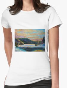 BEST CANADIAN PRINTS AND PAINTINGS WINTER LANDSCAPES GLORIOUS WINTER SUNRISE BY CAROLE SPANDAU Womens Fitted T-Shirt