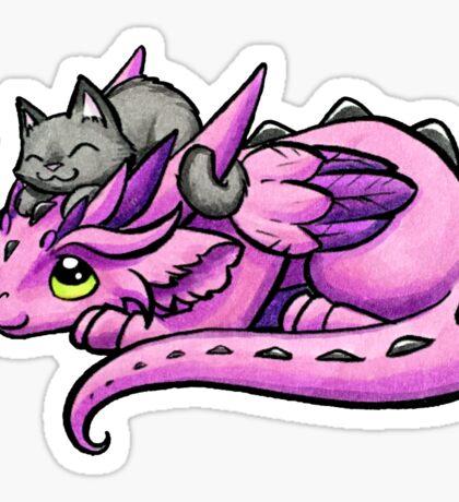 Dragon with Kitty Friend Sticker