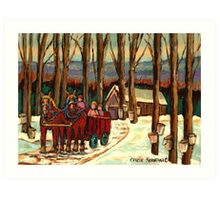 VERMONT SUGAR SHACK BEAUTIFUL WINTER LANDSCAPE  Art Print